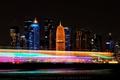 Картинка выдержка, город, Катар, Доха, ночь, огни