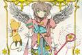 Картинка солнце, звезды, существо, перчатки, жезл, зеленые глаза, значки, белые крылья, Cardcaptor Sakura, Sakura Kinomoto, Сакура ...