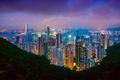 Картинка небо, облака, огни, вечер, Город, Китай, Гон-Конг