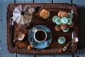 Картинка кофе, молоко, печенье, натюрморт, поднос, кофейник