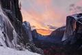 Картинка Fire, Sunset, Ice, Yosemite Park