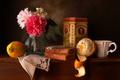 Картинка цветы, коробка, лимон, апельсин, хлеб, чашка, натюрморт