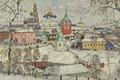 Картинка зима, снег, дома, картина, городской пейзаж, Константин Горбатов, Вид Троице-Сергиевой Лавры