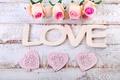 Картинка heart, love, roses, pastel, pink, romantic, розы, сердечки, petals, flowers, розовые розы