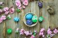 Картинка весна, корзина, розовые, colorful, Easter, яйца, tender, spring, Happy, decoration, wood, blossom, pink, Пасха, eggs, ...