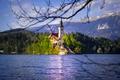 Картинка Церковь Вознесения Девы Марии, Bled, Assumption of Mary Pilgrimage Church, Lake Bled, Slovenia, озеро, Блед, ...