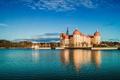 Картинка Moritzburg, Морицбург, Саксония, озеро, Замок Морицбург, замок, Moritzburg Castle, Германия, Germany, отражение, Saxony