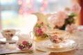 Картинка посуда, кувшин, салфетки, чашки, боке, сахар, стол, молочник