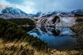 Картинка трава, облака, пейзаж, горы, ветки, природа, туман, озеро, отражение, камни, холмы, берег, растительность, склон, сосны, ...