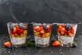 Картинка черника, клубника, fresh berries, десерт, йогурт, ягоды