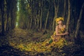 Картинка листья, лес, девушка