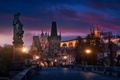 Картинка мост, город, огни, вечер, Прага, Чехия