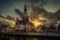 Картинка набережная, Алкмар, дом, вечер, Нидерланды, тучи