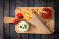 Картинка Rosemary, Portion, Sauce Tomatoes, Wooden Board, French Potatoes