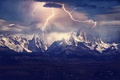 Картинка горы, свет, молнии