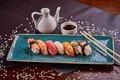 Картинка кунжут, рыба, соус, суши