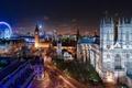 Картинка город, Лондон, Англия, ночь, Великобритания, огни