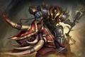 Картинка доспех, Gory Vanguard, кабан, воин, шлем, арт, Heroes of Newerth, Rampage