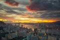 Картинка закат, облака, дома, cityscape, небо, архитектура, Гон-Конг