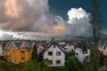 Картинка облака, Stavanger, Норвегия, вечер, панорама, дома, улицы, Rogaland