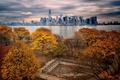 Картинка осень, Нью-Йорк, парк, небоскребы, Манхэттен