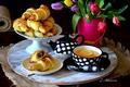 Картинка тюльпаны, чай, лимон, рогалики