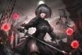 Картинка платье, робот, NieR: Automata, девушка, меч, YoRHa No.2 Type B, киборг, чулки, защитник