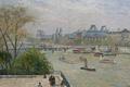 Картинка река, Лувр. Весна, городской пейзаж, Камиль Писсарро, Париж, Сена, мост, корабль, картина