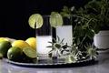 Картинка стаканы, лайм, лимонад, лимон, напиток