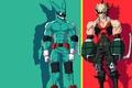 Картинка green, red, rabbit, anime, hero, friends, manga, powerful, strong, uniform, yuusha, enemy, seifuku, grenade, Boku ...