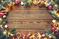 Картинка шарики, дерево, апельсин, печенье, Рождество, Новый год, гирлянды, шишки, фундук, бадьян, грецкие орехи, палочки корицы, ...