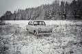 Картинка зима, машина, Москвич 407