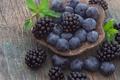 Картинка черника, ежевика, тарелка, ягоды
