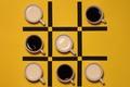 Картинка чашки, с молоком, чёрный, крестики нолики, кофе