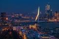 Картинка Erasmus Bridge, cityscape, Rotterdam, urban scene, blue hour, Erasmusbrug, Netherlands