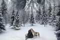 Картинка Волк, Ель, Снег, Природа, Девушка, Зима, Живопись