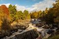 Картинка деревья, River Cassley, облака, Шотландия, лес, солнце, река, осень, камни