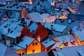 Картинка зима, свет, снег, город, дома, вечер, утро, крыши, Чехия