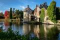 Картинка деревья, пруд, отражение, замок, Англия, England, Scotney Castle
