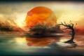 Картинка солнце, облака, дерево, планеты, alien calm