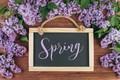 Картинка весна, lilac, violet, цветение, wood, сирень, рамка, blossom, ветки, доска, frame, spring, flowers, цветы