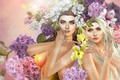 Картинка цветы, гортензия, девушки, две девушки, арт