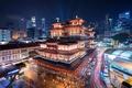 Картинка музей, Buddha Tooth Relic Temple and Museum, ночной город, здания, Сингапур, Singapore, храм