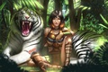 Картинка тигр, девушка, белый тигр, арт, джунгли, лес, Kiera
