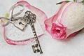 Картинка love, rose, heart, winter, snow, key, romantic, lock