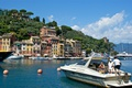 Картинка гавань, Лигурия, залив, дома, Портофино, Италия, яхта, лодка