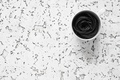 Картинка кружка белая, фон, спагетти, Black and White