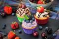 Картинка кексы, шоколад, крем, выпечка, капкейки, ягоды