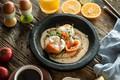 Картинка блюдо, яйцо, рыба, еда, зелень, лосось