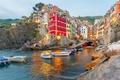 Картинка скалы, travel, вилла, лодки, море, побережье, Riomaggiore, Италия, домики